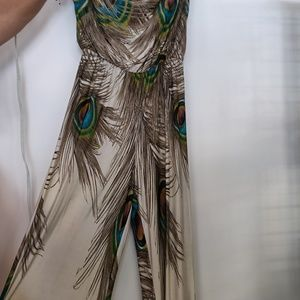 Colorful  peacock jumpsuit